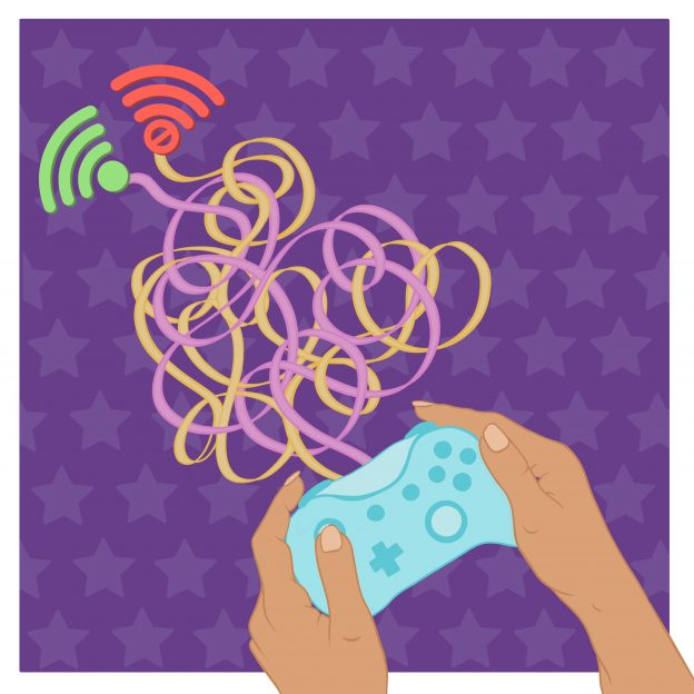 Illustration of hands holding a gaming controller with pink and yellow cords coming out of the top and connected to 2 wireless symbols (one green and one red).