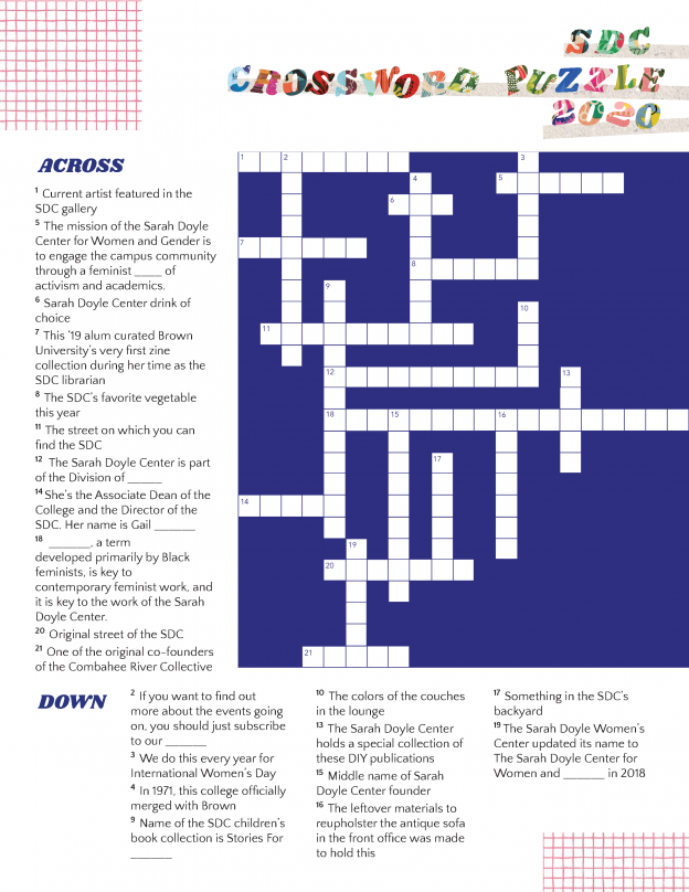 Image of the Sarah Doyle Center crossword puzzle.