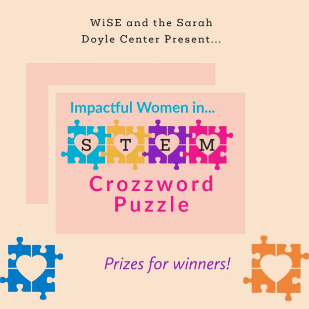 """Colorful puzzle pieces and """"Impactful Women in STEM Crozzword Puzzle"""" in the center."""