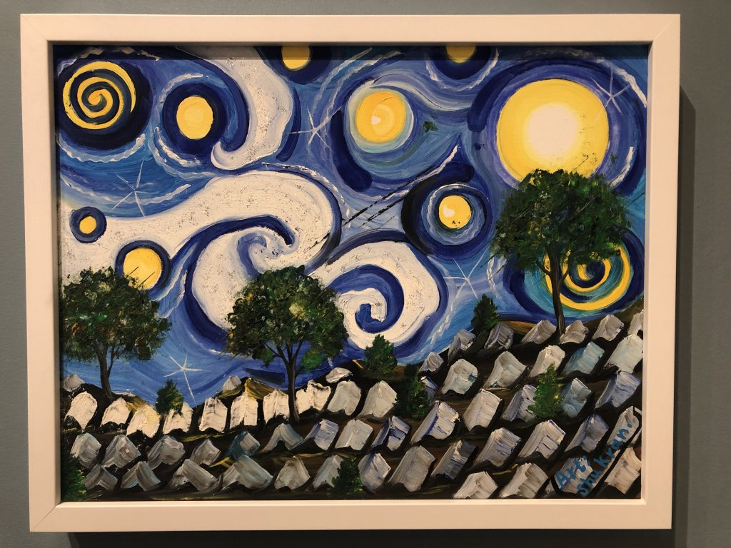 Stylized painting of refugee camp in the style of Van Gough's Stary Night.