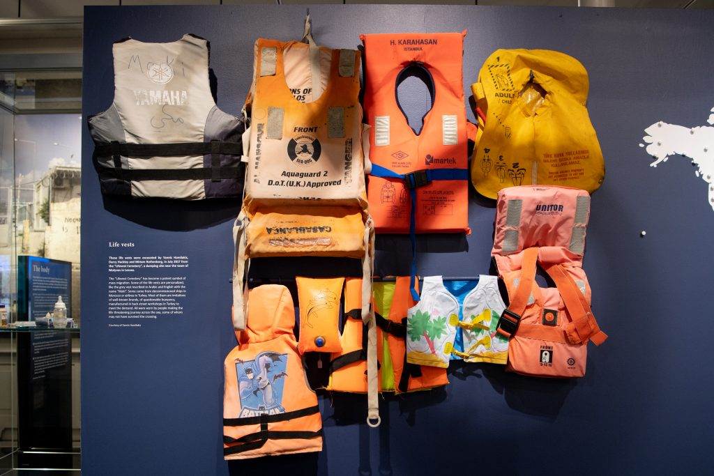 Photo of live vests, including kiddie floats and emergency inflatables.
