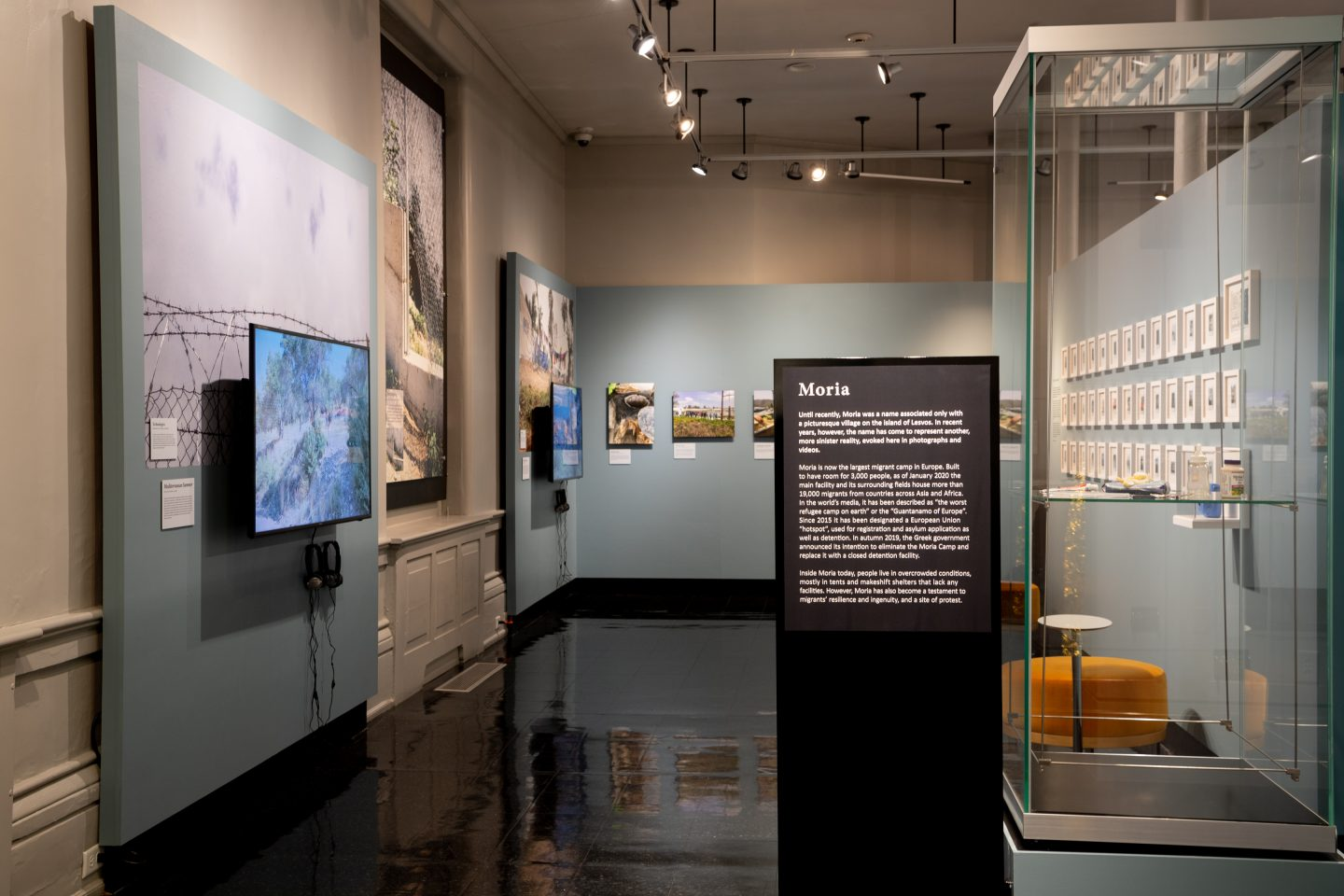 Photo of interior of the Haffenreffer Museum gallery, Transient Matter exhibit, Moria section.