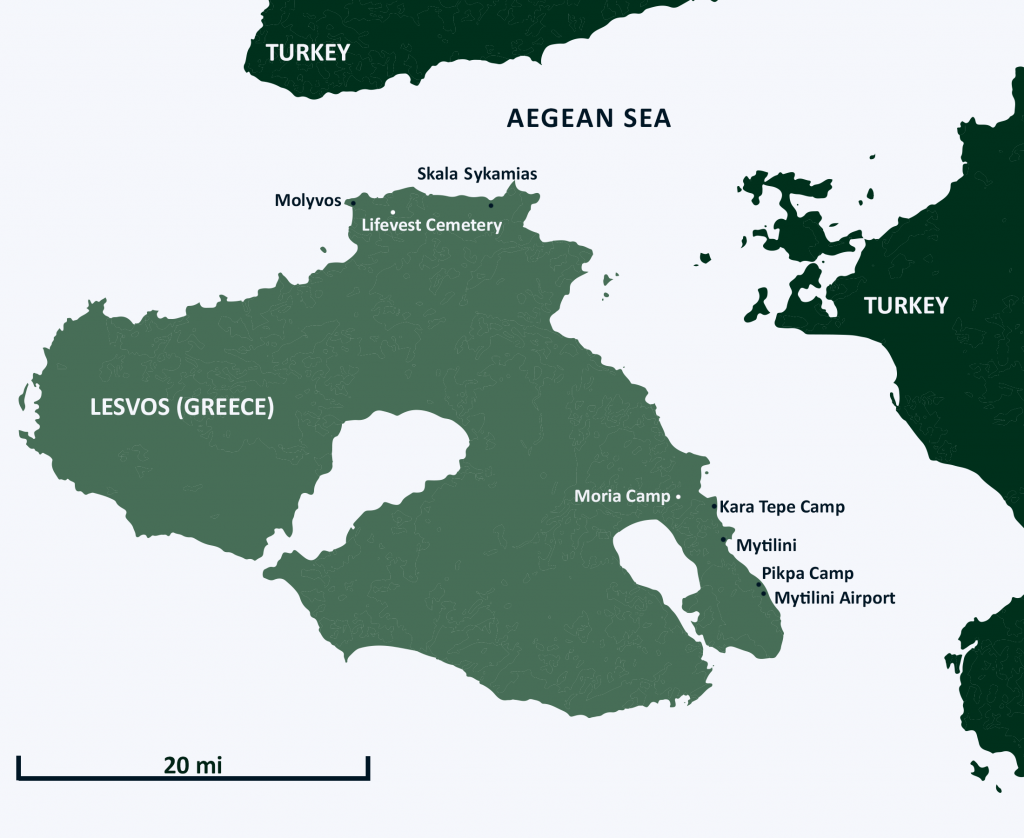Map of Lesbos, marked with pinpoints for the Moria Camp, Lifevest Cemetery, etc.