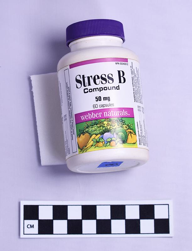 """Bottle of """"Stress B"""" pills."""