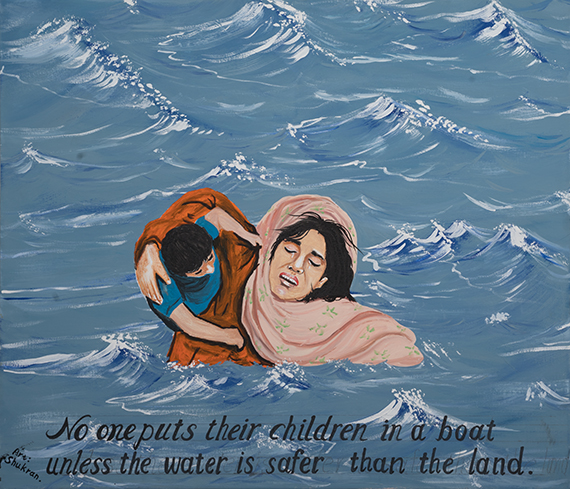 """Photo of painting of mother in water holding child, with text that reads """"No one puts their children in a boat unless the water is safer than the land."""""""