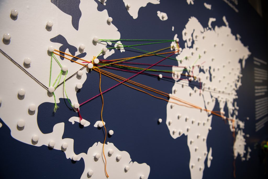 Photo of interactive map in the exhibit, with colored string tied between general landmarks.