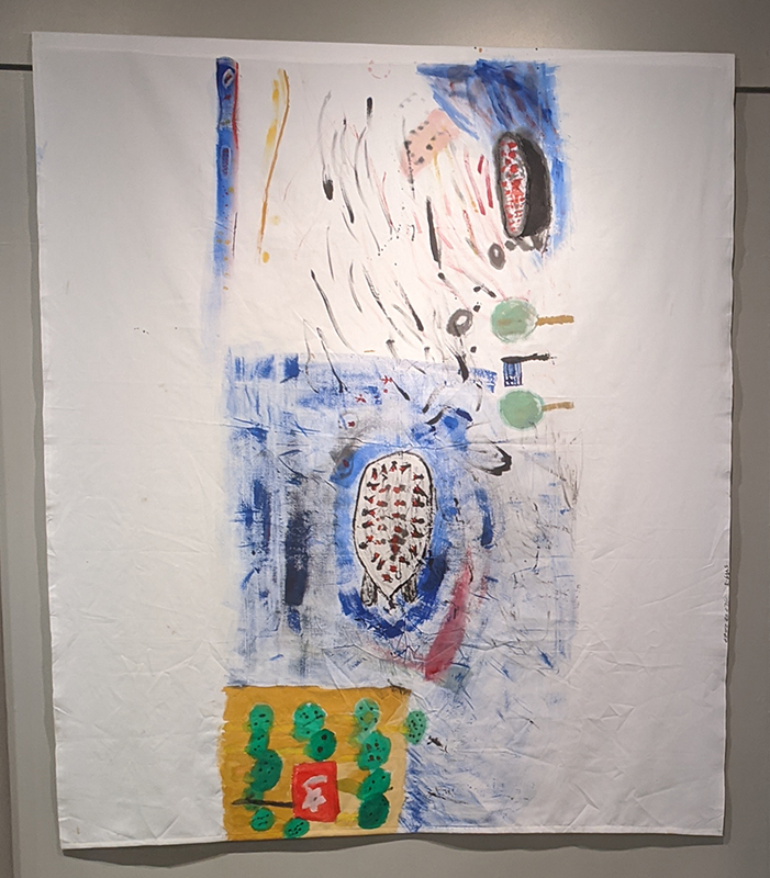 Photo of large tapestry painted by children of the border crossing between Turkey and Greece via Lesvos, and arrival on the island