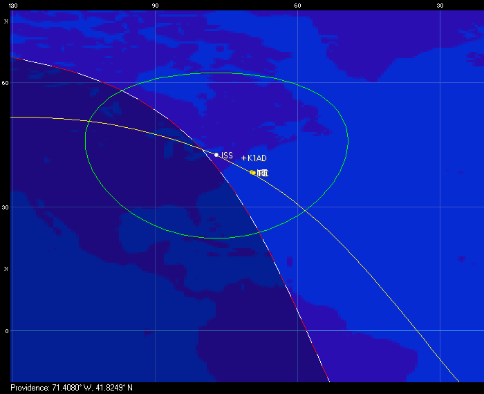 Ground track of the ISS and four CubeSats on July 16th