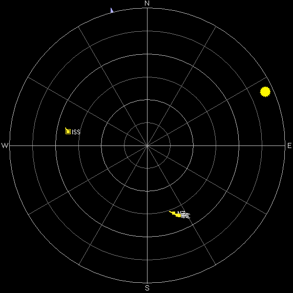 Sky view of the path of the ISS and four CubeSats on July 16th