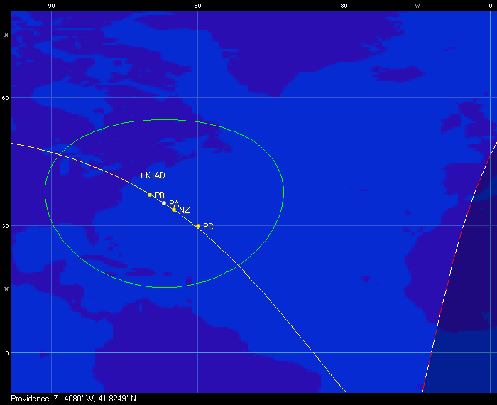 Ground track of the ISS and four CubeSats on August 23rd