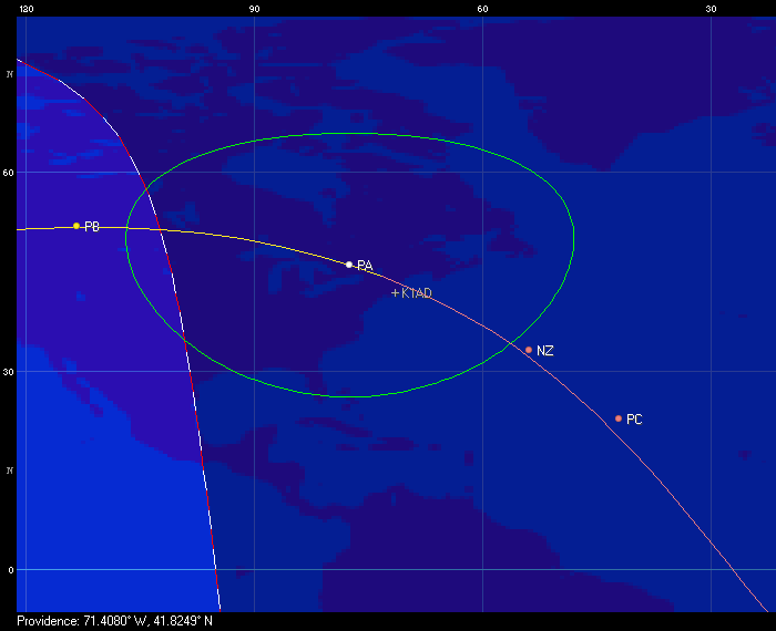 Ground track of the four CubeSats on October 7th