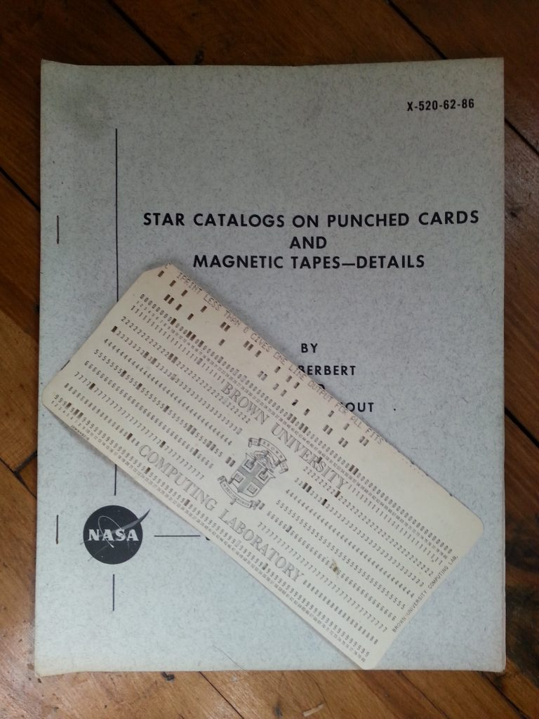 Star catalog on punch cards