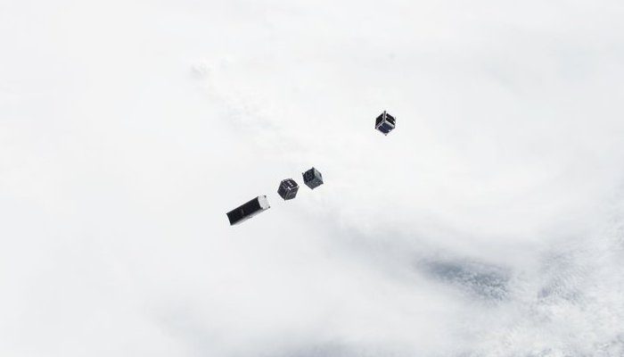 Four CubeSats shortly after deployment on July 13th