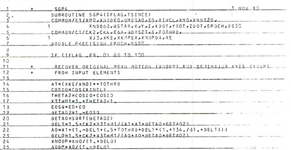 SGP4 computer program